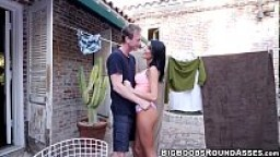 Busty hottie August Ames screwed at a secret place