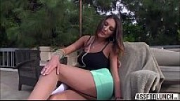 Dazzling hot tits August gets banged from behind for a doggystyle
