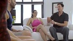 Alex Blake and Whitney Wright take turns fucking dad while trying not to get caught!
