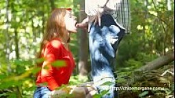 Chloe Morgane (Camille Crimson) Doggy Style Upskirt Sex in the Forest