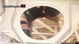 Femdom slave is straddled as human toilet