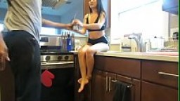 asian gives sloppy good head in kitchen