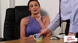 Office femdom instructs sub to jerk till cum