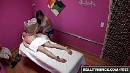 Asain teens (Mia Li, Angelina Chung) give dude a rub and tug - Reality Kings