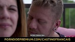 CASTING FRANCAIS - Tattooed Canadian amateur Madison intense casting fuck outdoors on terrace