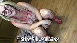 Chubby Wife Fishnet Blowbang