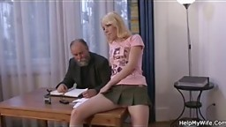 Old husband calls friend to fuck his young blonde wife