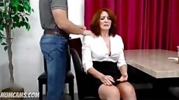 Son using redhead step mom for sex