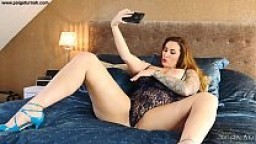 Paige Turnah BBW landlord is caught by tenant on a dirty webcam skype call masturbating