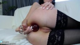 Teeny girl first time insert big glass ball plug in little ass and gape