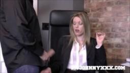 Hot Boss Milf in Stockings Fucks Big Cock Employee! Red Lipstick Blowjob