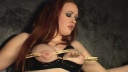 Hardcore nipple torture with clothespins