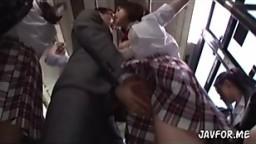 Girl in uniform sex on train