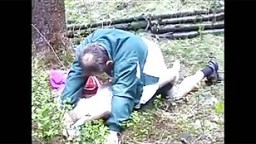 father walks daughter into the woods & rapes her.