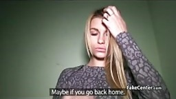Hot blonde fucked agent in p...